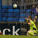 Back of the net: Andrew Mitchell beats Coleraine keeper Chris Johns last night