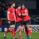 Iain Henderson, Sean Reidy and Tommy O'Toole celebrate the victory at Kingspan last night