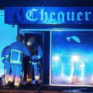 Firefighters tackle the blaze at Chequers chip shop