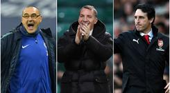 Maurizio Sarri, Brendan Rodgers and Unai Emery will lead their sides into the Europa League knock-out stages.