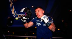 Countdown: Carl Frampton during a public workout at the National Football Museum in Manchester
