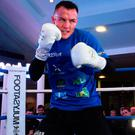 Josh Warrington during a public workout at the National Football Museum in Manchester last night