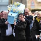 Family and friends during the funeral of Kai Corkum at Clarke and Son funeral church in Newtownards on Wednesday. Picture Colm Lenaghan /Pacemaker.