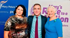 Racing ahead: (from left) PowerNI's Gemma Louise Bond, Mary Peters Trust supporter James Nesbitt and Dame Mary Peters
