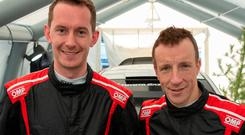 Joining forces: Seb Marshall (left) with Kris Meeke