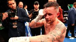 Hard to take: Carl Frampton after his defeat to Leo Santa Cruz in Las Vegas