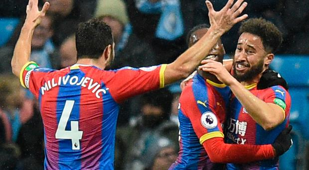 Crystal Palace's Andros Townsend (right) netted a contender for goal of the season against City.