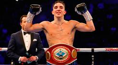 Michael Conlan wins the WBC Intercontinental Featherweight Championship at Manchester Arena. Martin Rickett/PA Wire