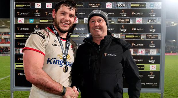 Top man: Marcell Coetzee is presented with Friday's Guinness PRO14 Man of the Match award by Barney McCann of the sponsors