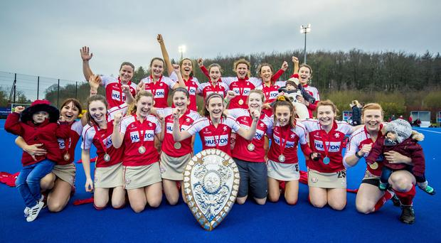 Pegasus celebrate winning the Women's Denman Ulster Shield final at Lisnagarvey on December 26th 2018 (Photo by Kevin Scott for Belfast Telegraph)