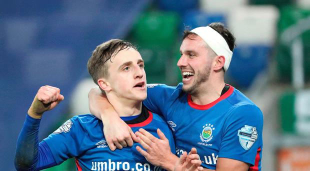 Boxing clever: Joel Cooper (left) and Andy Waterworth help rattle Glentoran while