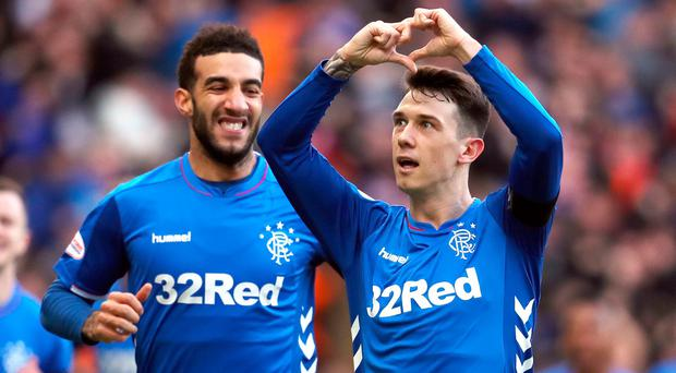 Rangers' Ryan Jack celebrates scoring against Celtic.