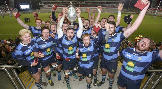Get in: Dromore celebrate with the Millar McCall Wylie Junior Cup
