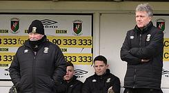 Kieran Harding (right) is considering his future after Ronnie McFall (left) resigned from his post as Glentoran manager.