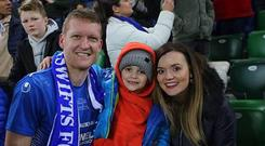 David Armstrong celebrates last season's League Cup success with his wife Joanna and son Alfie.