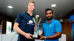 Hands on: Captains Harry Tector and Ashan Priyanjan with the trophy for the winners of the Ireland Wolves-Sri Lanka A series