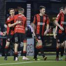 Crusaders' Paul Heatley scored twice against Glentoran.