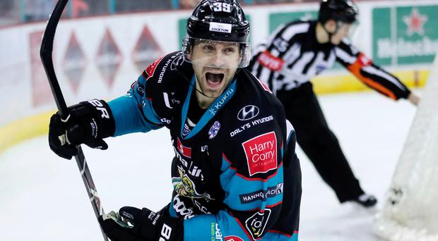 Hat-trick hero: Patrick Dwyer celebrates after his goals helped the Giants to victory over Sheffield Steelers last night