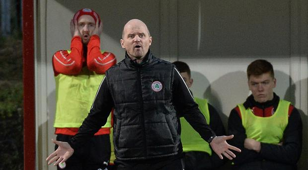 Cliftonville manager Barry Gray during Saturday's Irish Cup defeat to Dungannon Swifts at Solitude.