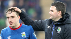 Blue boys: Joel Cooper and manager David Healy