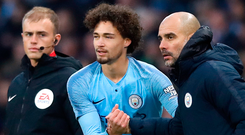 Step up: Jamie Robinson, Philippe Sandler and Pep Guardiola