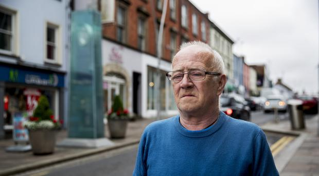 Kevin Skelton, whose wife Philomena was among those that died during the Omagh bombing, stands next to the Omagh Bomb Memorial ahead of the 20th anniversary of the attack.