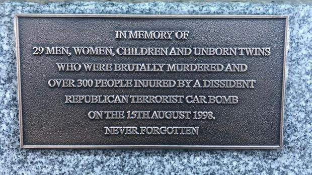 The plaque placed by Mr Skelton at the Omagh bomb memorial in the town's Market Street. Pic BBC.