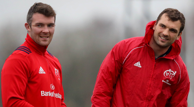 Ready to rock: Munster pair Peter O'Mahony (left) and Tadhg Beirne prepare for Friday's big clash with Gloucester