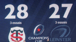 Point made: The final score when Toulouse and Leinster clashed in France back in October