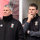 New Glentoran manager Gary Smyth and assistant Paul Leeman