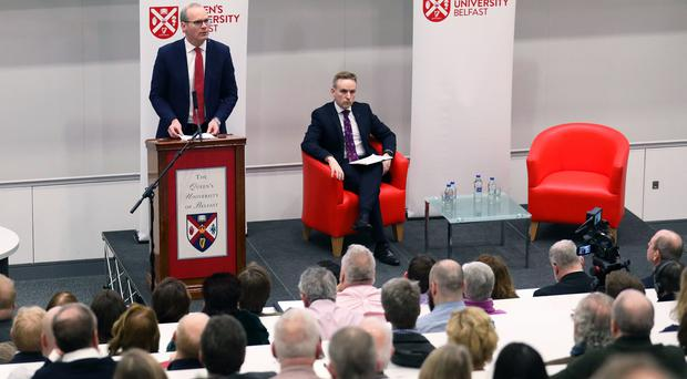 Fine Gael politician Simon Coveney, who serves as Tanaiste speaks to delegates at Queen's University on the subject of Brexit. Pic by Peter Morrison