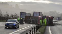 The A1 carriageway near Newry in County Down on Thursday morning.