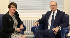 Tanaiste Simon Coveney meets DUP leader Arlene Foster today at Stormont.