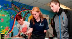 Paralympian Sally Brown helps out at a YouthAction NI event in Londonderry