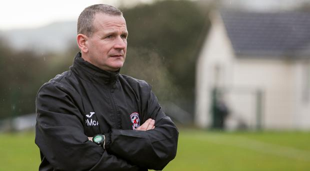 Sport & Leisure Swifts manager Packie McAllister at the club's Glen Road Heights ground.