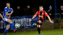 Pick it out: David Cushley fires in the winner for Crusaders last night