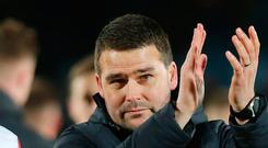 Applause all round: David Healy is thrilled with the form of Stephen Fallon