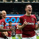 Declan Rice (right) scored his first senior goal for West Ham against Arsenal.