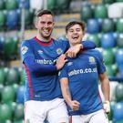 Jordan Stewart (right) and Andy Waterworth fired Linfield to victory.