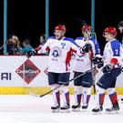 Arlan Kokshetau players celebrate scoring against the Belfast Giants during Sunday nights IIHF Continental Cup Final game at the SSE Arena