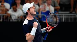 Andy Murray reacts after winning the third set during his men's singles match against Spain's Roberto Bautista Agut.