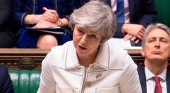 Prime Minister Theresa May issues her latest statement on Brexit. Pic: PA Wire