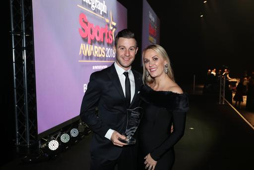 Press Eye - Belfast - Northern Ireland - 14th January 2019. 15. Sports Star of the Year   Jonathan Rea and his wife Tatia Photo by Kelvin Boyes / Press Eye.