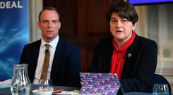 DUP leader Arlene Foster sits alongside former Brexit secretary Dominic Raab at a press conference campaigning for a 'better deal'. (Photo by Leon Neal/Getty Images)