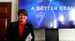 DUP leader Arlene Foster at 'A Better Deal' event at the British Academy, London, outlining opportunities: Pic Steve Parsons/PA Wire