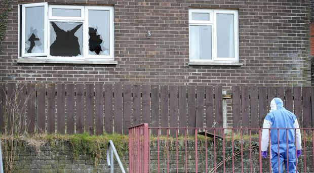 The scene at Castleview in Killyleagh, Co. Down after the gun attack last year. Pic: Jonathan Porter/PressEye