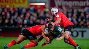 Pack leader: Rory Best tackles the Tigers earlier in the season