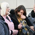 There were motional scenes as murder victim Colin Horner's mother Lesley, ( 2nd left), and his family were leaving Belfast Crown Court after seeing four men plead guilty to Colin's murder.