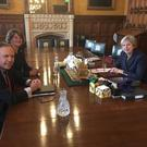 Nigel Dodds shared a picture of the DUP meeting with the Prime Minister on his Twitter account. Pic Twitter/NigelDoddsDUP