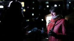 DUP Leader Arlene Foster speaking at College Green in Westminster. Pic: Yui Mok/PA Wire